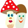 Two mushrooms — Stock Vector
