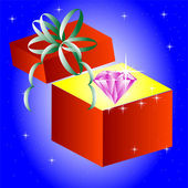 Openning gift box with jewels inwardly — Stock Vector