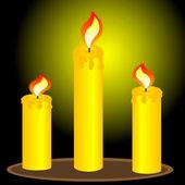 Three alight candles — Stock Vector