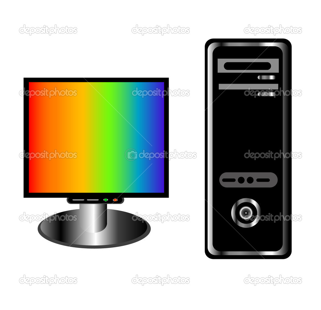 Processor and monitor on white background  Stock Vector #4337992