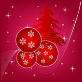New year's background with fir tree and ball — Stok fotoğraf