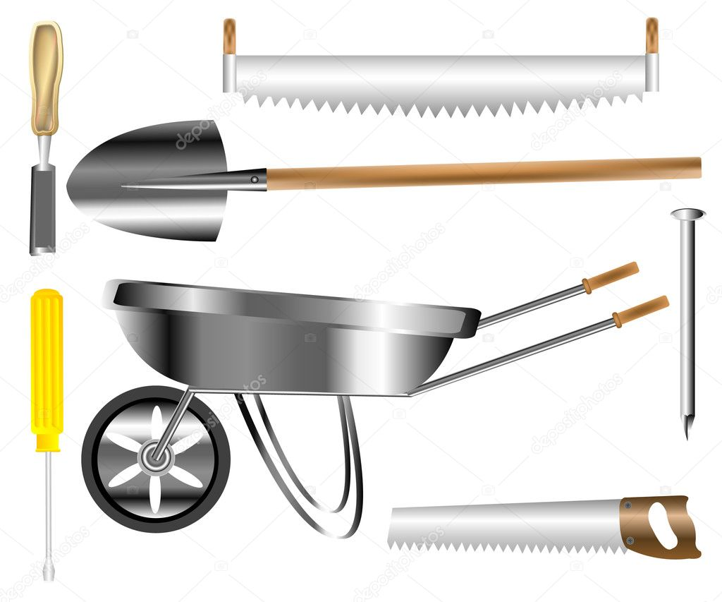 Worker tools for building and building stock vector for Tools to build a house