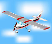 Small plane flying to sky — Stock Vector