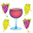 Grape and goblet blame — Imagen vectorial
