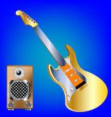 Gitar kırmızı zemin üzerine — Vector de stock