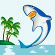 Stock Vector: Shark beside coast of tropical island