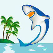 Shark beside coast of the tropical island — Stock Vector