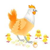 Hen with newborn nestling — Stock Vector