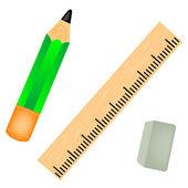 Ołówek z linijki — Wektor stockowy