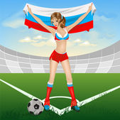 Russian girl soccer fan — Vector de stock
