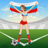 Ruská dívka fotbalový fanoušek — Stock vektor