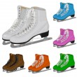 Vettoriale Stock : Set women's figure ice skate