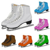 The set women's figure ice skate — 图库矢量图片