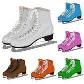 The set women's figure ice skate — Stock vektor