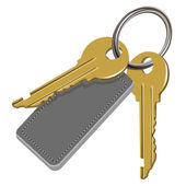 The bunch of keys and leather label — Vector de stock