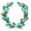 Stock Vector: Christmas wreath of fir twigs