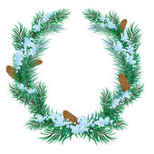 The Christmas wreath of fir twigs — Stock Vector