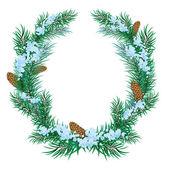 Vánoční věnec jedle větvičky — Stock vektor
