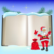 Christmas open book and SantClaus — Vector de stock #4296030