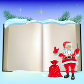 Christmas open book and Santa Claus — Vector de stock