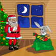 Santa Claus and Christmas rabbit with bag of gifts — Imagen vectorial