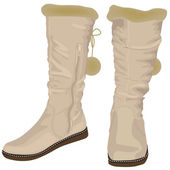 White women's boots with fur — Vecteur