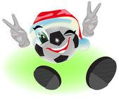 Christmas soccer ball — Stock Vector