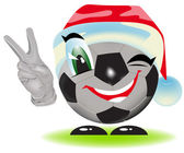 Christmas soccer ball — Vector de stock