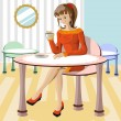 Beautiful girl drinking coffee — Imagen vectorial