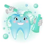 čištění zubů — Stock vektor