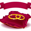 Vector de stock : Two ring red pillow