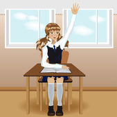 Schoolgirl sitting and raises his hand — Vector de stock