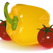 Yellow pepper and tomato cherry — Imagen vectorial