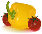 Yellow pepper and tomato cherry — Stockvector
