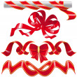 Set red ribbon and knot — Image vectorielle