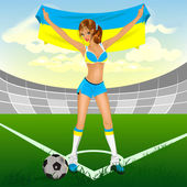 Ukrainian girl soccer fan — Vector de stock