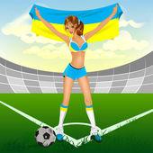 Ukrajinská dívka fotbalový fanoušek — Stock vektor