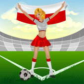 Polonyalı kız futbol fan — Stok Vektör