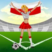 Polský fotbalový fanoušek dívka — Stock vektor