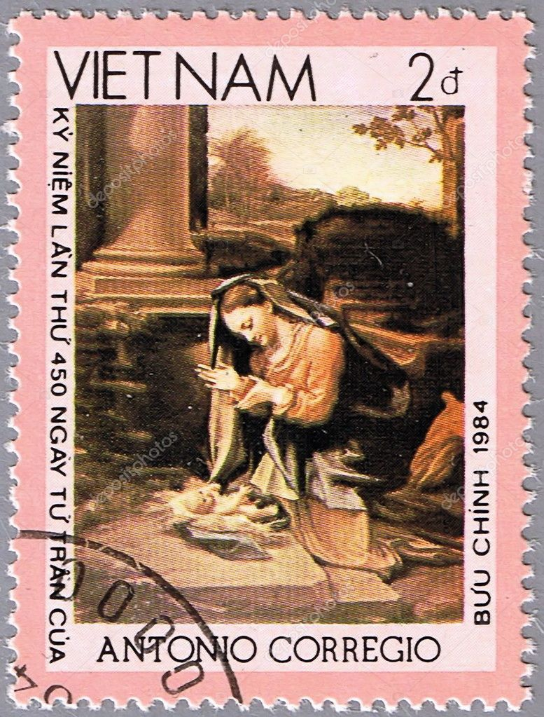 VIETNAM - CIRCA 1984: A stamp printed in Vietnam shows a reproduction of Correggio or Antonio Allegri painting - Madonna worshipping the Child, series, circa 19 — Stock Photo #5262066