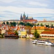View from Charles Bridge in Prague. - Stok fotoğraf