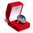 Stock Photo: Retro ring in red box