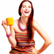 Beauty young woman with yellow cup — Stock Photo