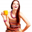 Beauty young woman with yellow cup — Stock Photo #4222226