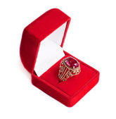 Gold ring with ruby — Stock Photo