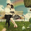 Love on a park bench - Foto de Stock