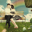 Love on a park bench - Stock Photo