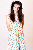 Beauty woman in sweet dress — Stock Photo