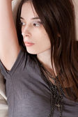 Beauty young brunette — Stock Photo