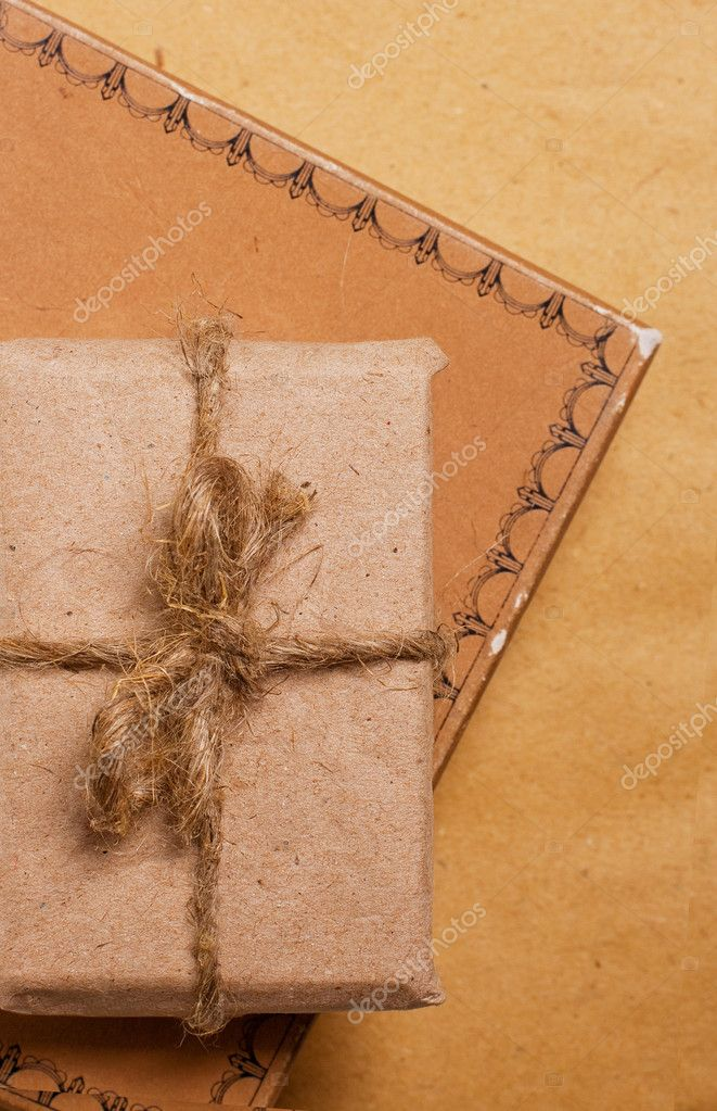Close up present gift from grunge paper  Stock Photo #4587912